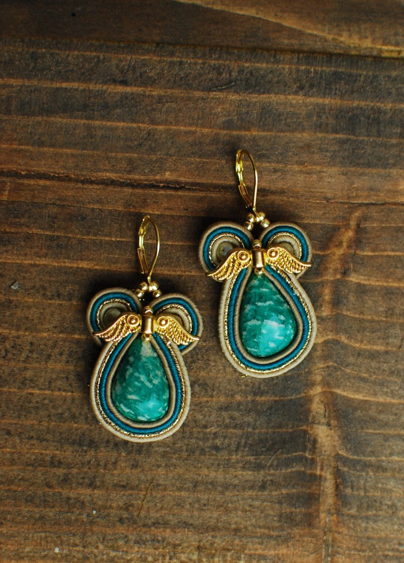 Soutache dangle earrings, Celadon and gold earrings with amazonite, Embroidered earrings