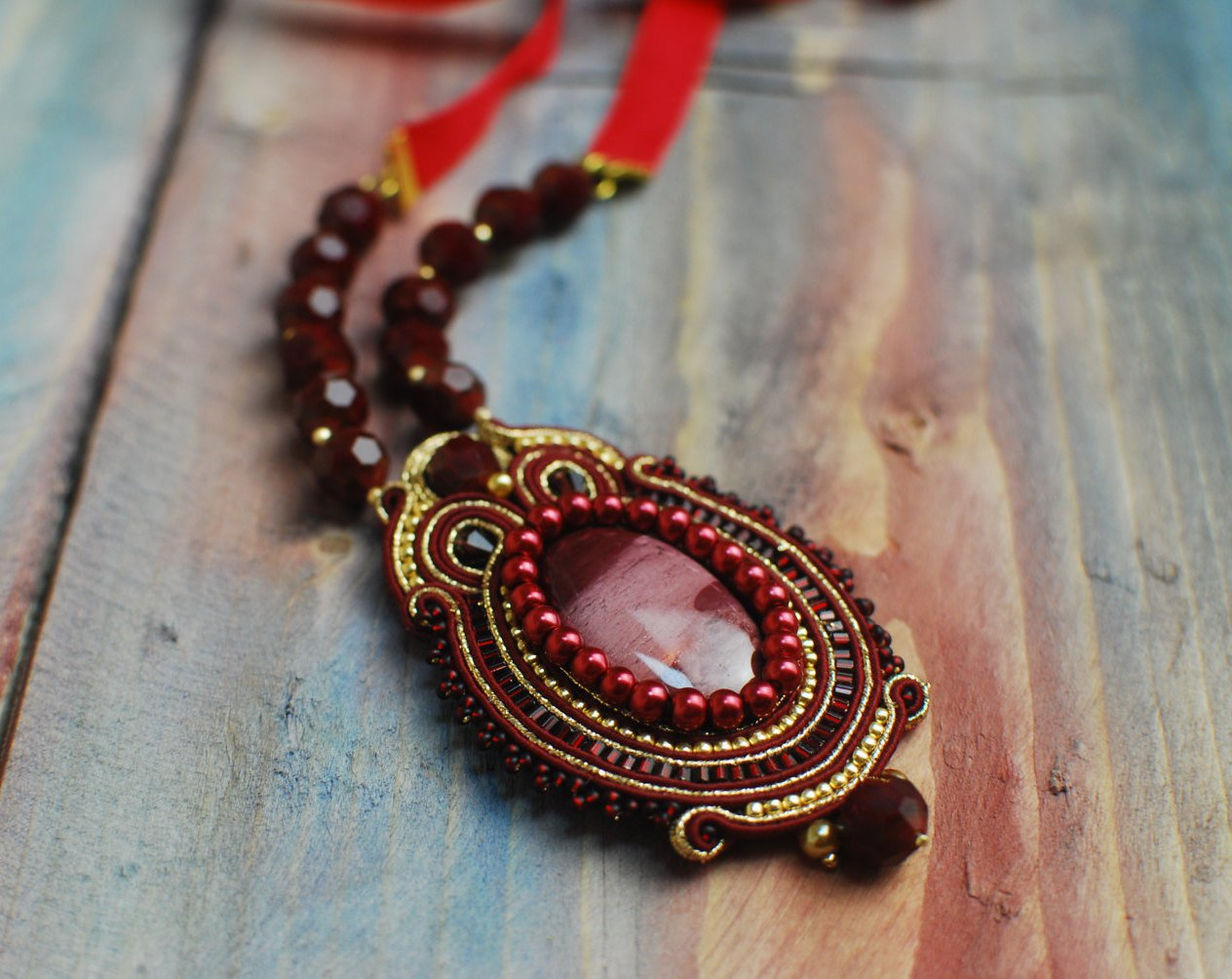 Soutache pendant, Gold and burgundy pendant with mookaite, Soutache jewelry, Embroidered pendant