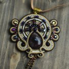 Soutache pendant, Brown,violet and beige pendant with amethyst, Embroidered pendant, Crystal pendant