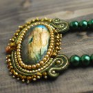 Soutache pendant, Green and gold pendant with labradorite, Embroidered pendant, Soutache jewelry