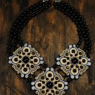 Soutache necklace, Black, grey and beige necklace, Embroidered necklace, Beaded necklace