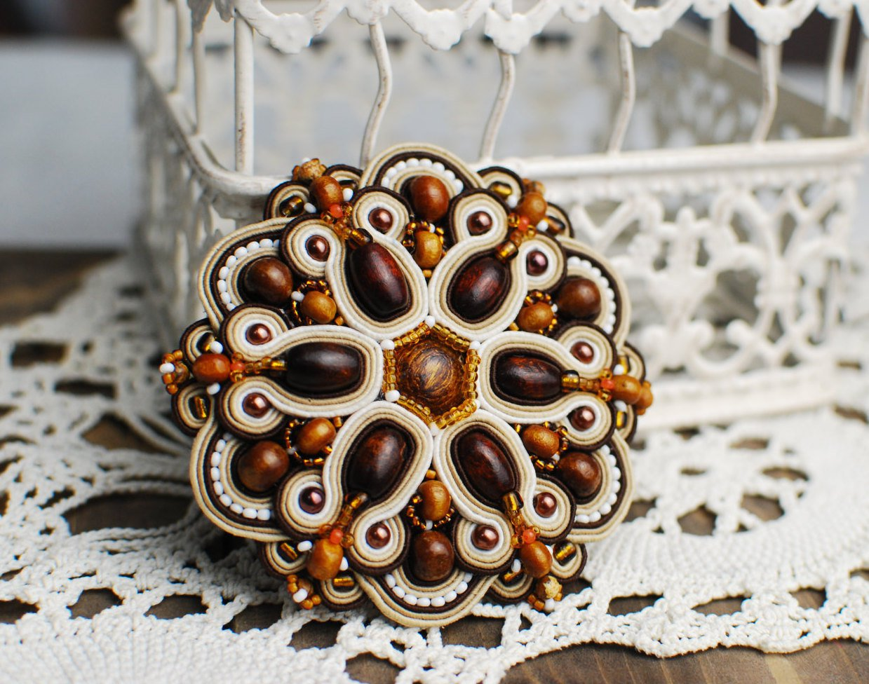 Soutache brooch, Brown and beige brooch, Embroidered brooch, Beaded brooch, Soutache jewelry