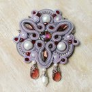 Soutache brooch, Violet and burgundy brooch, Embroidered brooch, Beaded brooch, Soutache jewelry