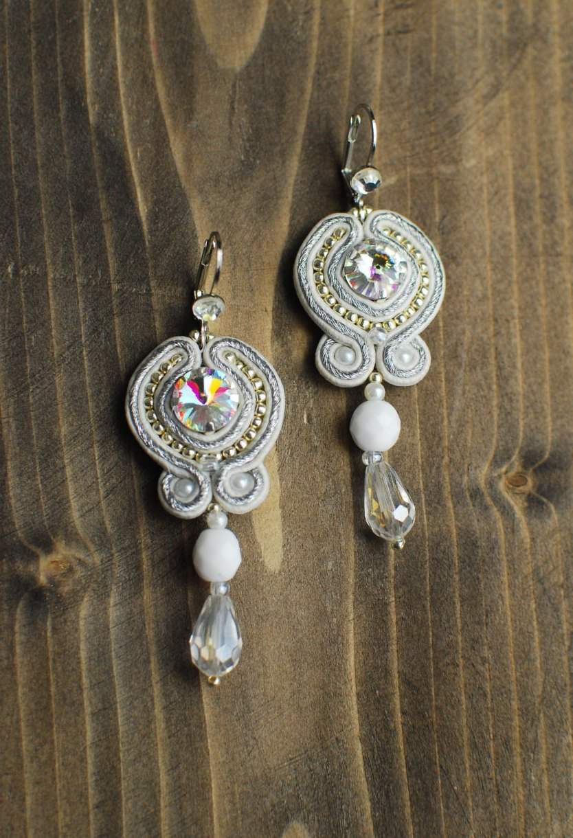 Soutache dangle earrings, White and silver earrings, Embroidered earrings, Beaded earrings