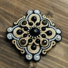 Soutache brooch, Grey, beige and black brooch, Embroidered brooch, Soutache jewelry, Beaded brooch