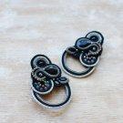 Soutache stud earrings, Black and silver earrings with crystal, Beaded earrings