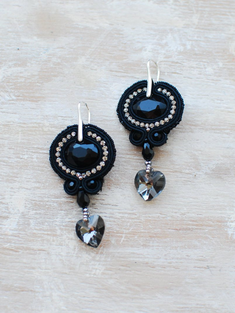 Soutache dangle earrings, Black and silver earrings, Embroidered earrings, Beaded earrings