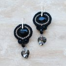 Soutache dangle earrings, Black and silver earrings, Embroidered earrings, Beaded earrings