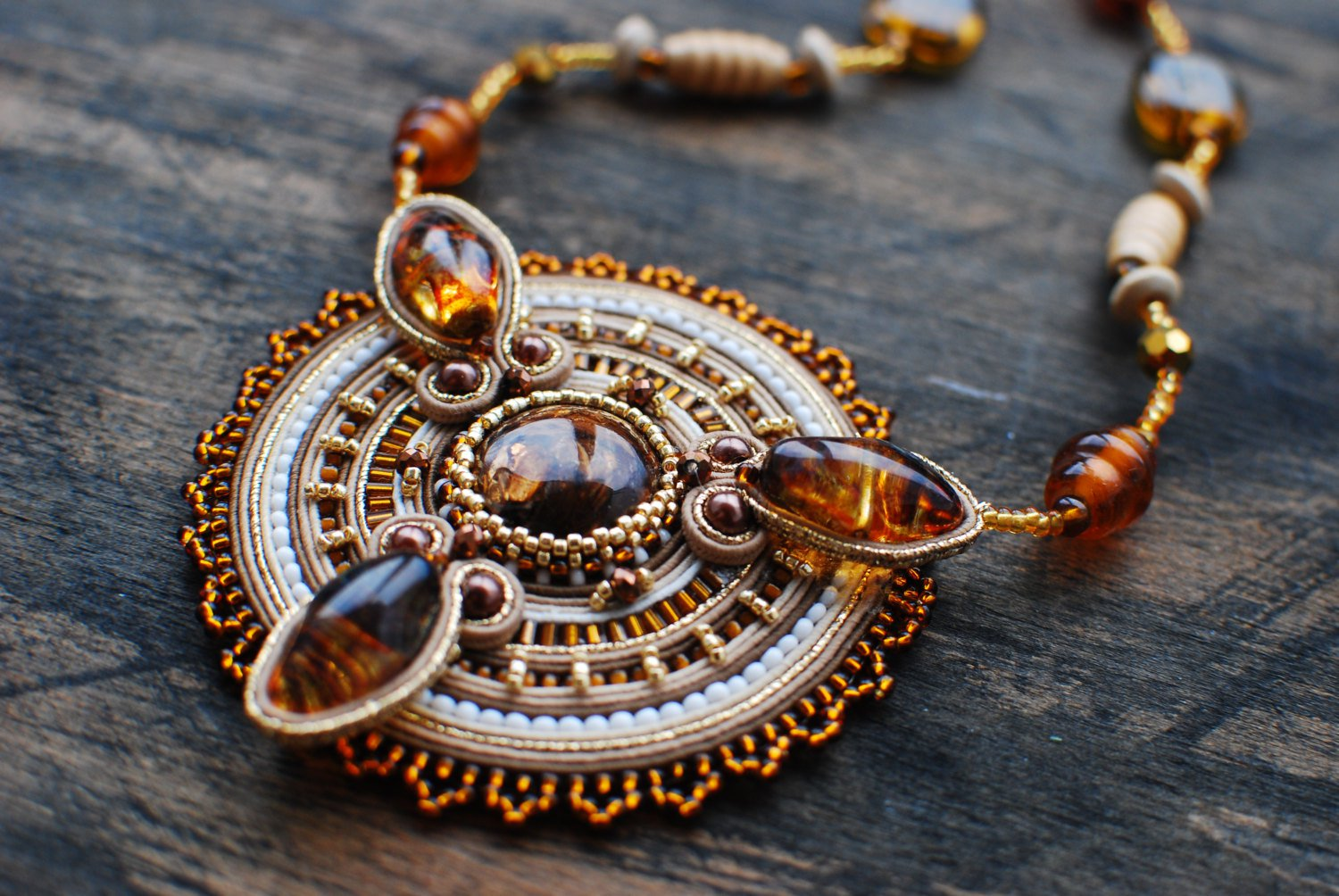 Soutache pendant, Brown, beige and gold pendant with bronzit, Embroidered pendant, Beaded pendant