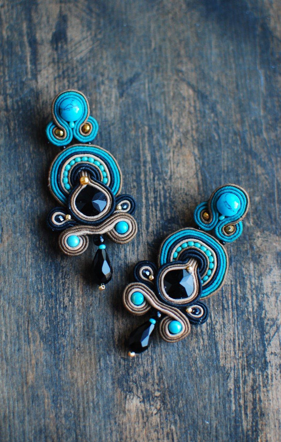 Soutache dangle earrings, Black, beige and turquoise earrings, Embroidered earrings, Beaded earrings