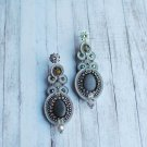 Soutache dangle earrings, Silver earrings with crystal, Embroidered earrings, Beaded earrings