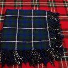 """Scottish Blue Douglas Highland Tartan 4 way Purled & Fringed FlyPlaid Shawl 48""""X48"""""""