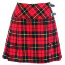 New Ladies Wallace Tartan Scottish Mini Billie Kilt Mod Skirt w34