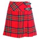 Ladies Royal Stewart Tartan Skirt Scottish Mini Billie Kilt Mod Skirt 26 Inches Waist Size