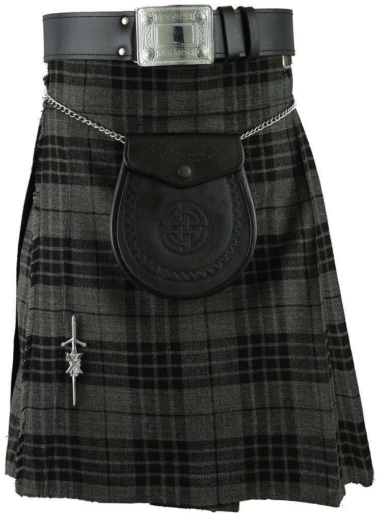Waist 30 Gray Watch Tartan Kilt Traditional Highland Gray Watch 5 Yards Tartan Kilt