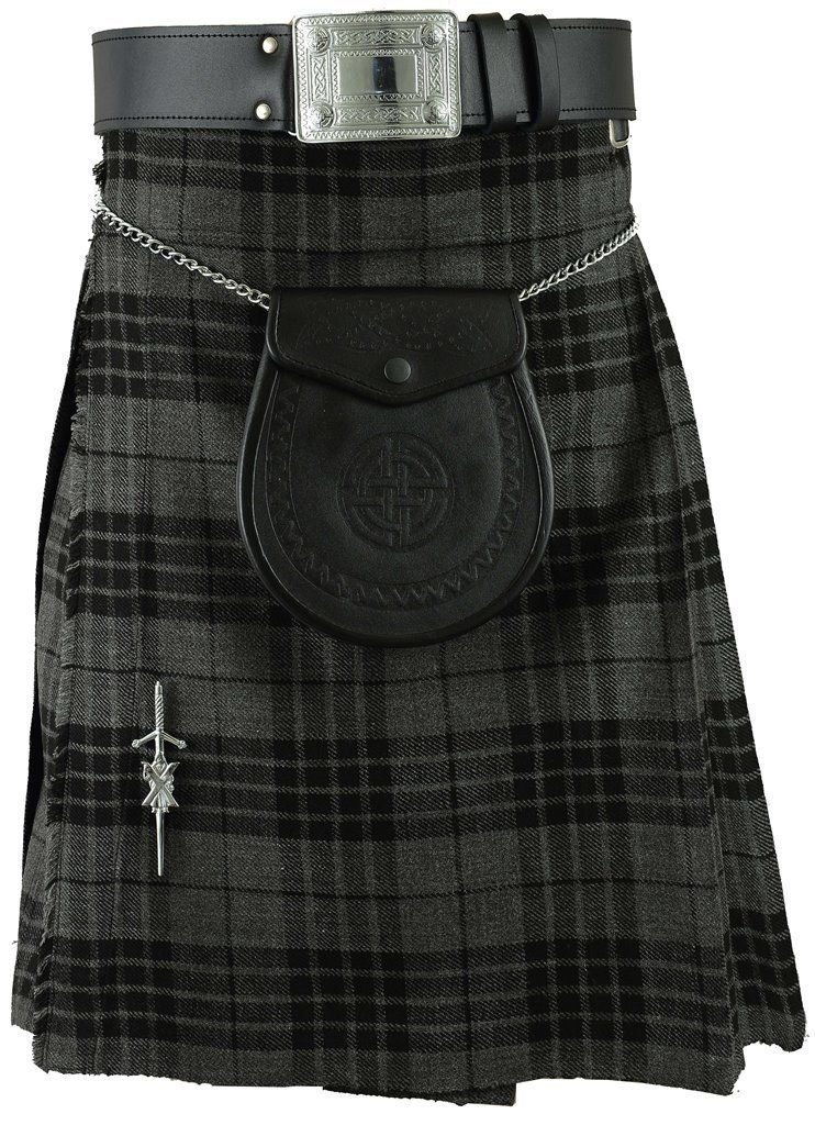 Scottish Granite Gray Watch Tartan kilt 5 Yard Traditional Pleated to Set 40 Size Kilt