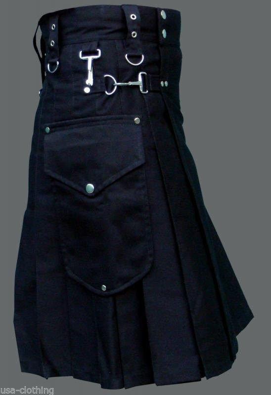 Size 32 Black cargo pocket utility kilt for men 100% Cotton Deluxe kilt