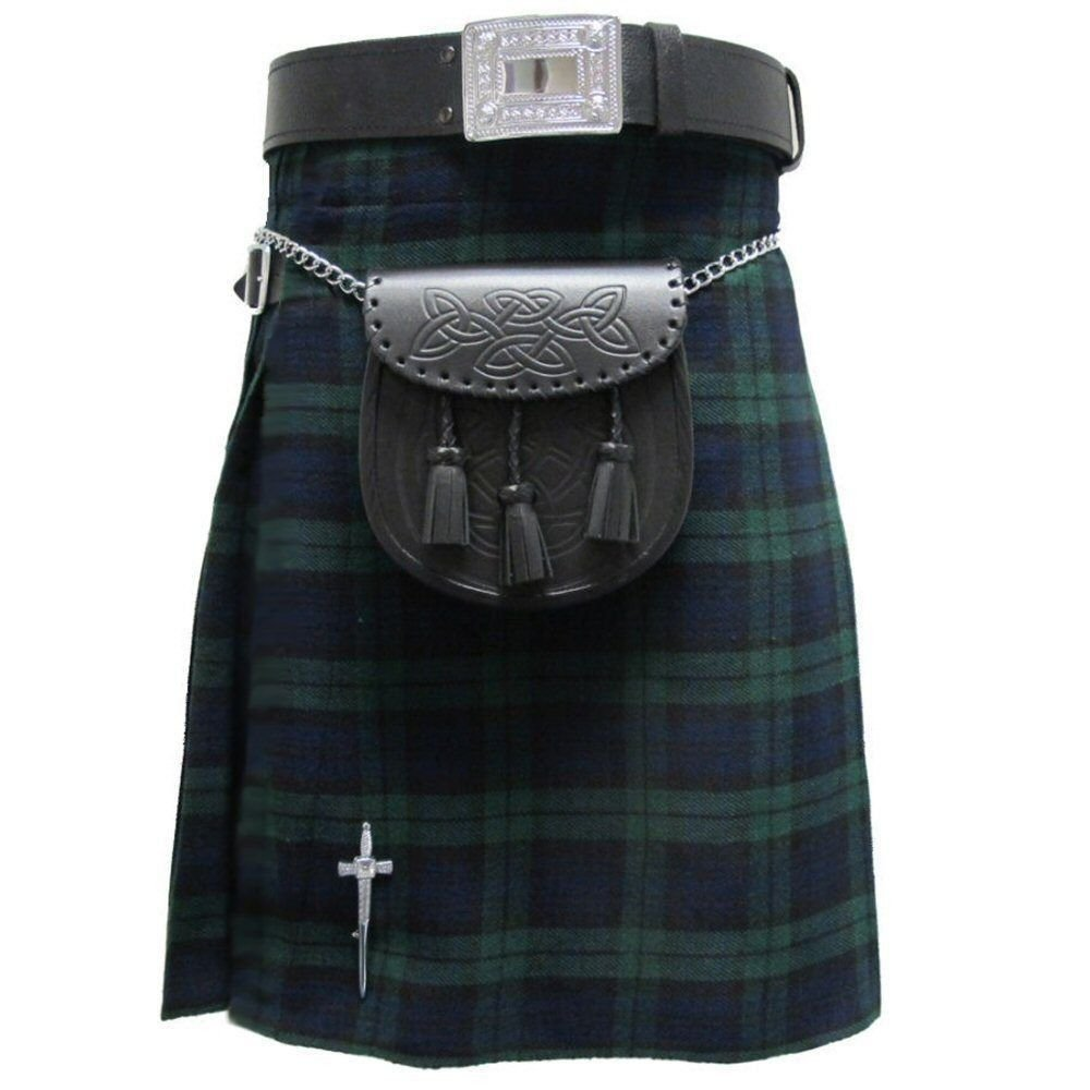 Traditional Highland Tartan Kilt Waist 48 Size Active Men Black Watch 8 Yard Tartan Kilt Skirt