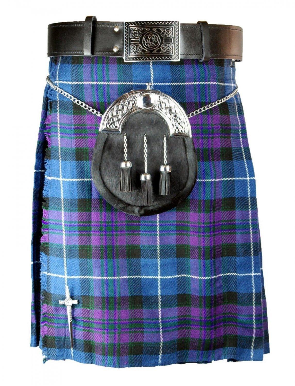 Mens Kilt Pride of Scotland Tartan Traditional Highland Dress Skirt for 44 Inches of Waist