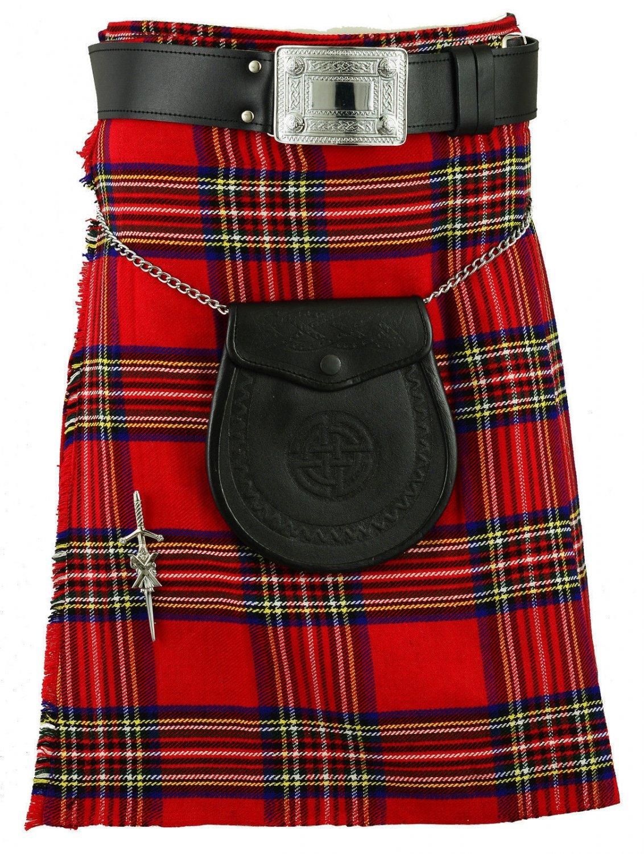 Traditional Royal Stewart Tartan Kilts Scottish Highland 8 Yard Kilt Fit To 40 Inches Waist