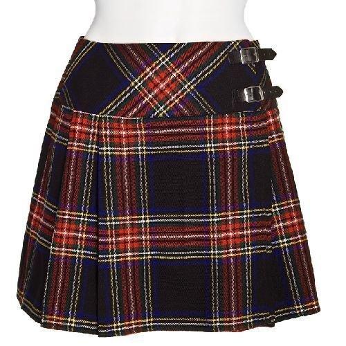 Black Stewart Women�s Tartan Kilt Size 34 Inches Waist
