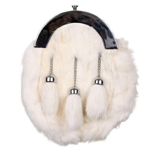 Scottish HIGHLAND White RABBIT FUR 3 Tassel Leather Kilt SPORRAN OR KILT BAG