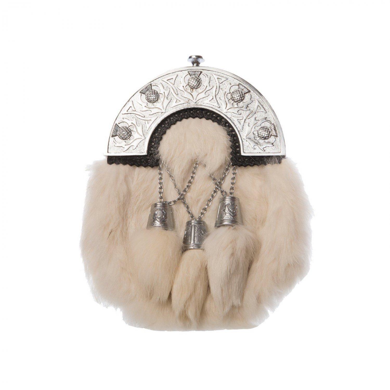 Scottish White RABBIT FUR Skin 3 Tassel Leather Kilt SPORRAN POUCH