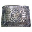 DE Original  Scottish Steel Made KILT BELT BUCKLE Silver Chrome for leather belt