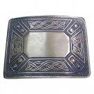 DE Original Silver Chrome Scottish Steel Made KILT BELT BUCKLE for leather belt