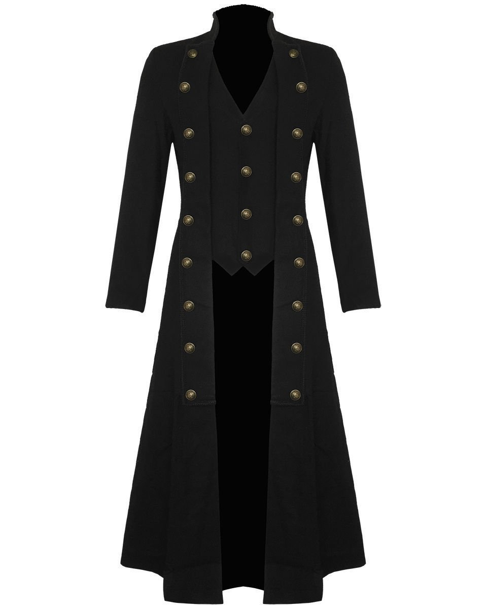 DE:Size 2XL Mens Steampunk Tailcoat Jacket Black Gothic Victorian coat