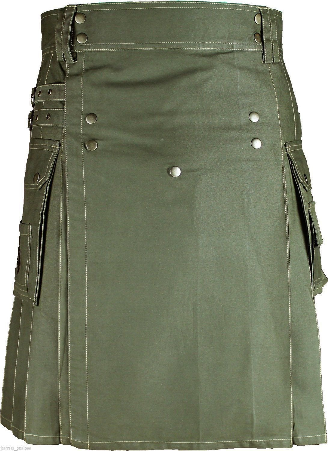 Size 34 Handmade Modern Utility Olive Green Cotton Kilt With Big Cargo Pockets Brass Materials