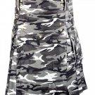 Size 34 Army Gray Camo Utility Cotton Kilt Handmade Unisex Adult Camo kilt with Big Cargo Pocket