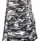 Size 36 Army Gray Camo Utility Cotton Kilt Handmade Unisex Adult Camo kilt with Big Cargo Pocket