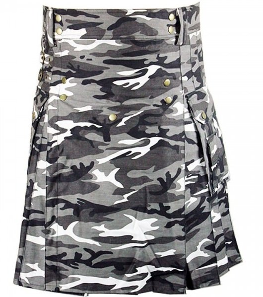Size 44 Army Gray Camo Utility Cotton Kilt Handmade Unisex Adult Camo kilt with Big Cargo Pocket