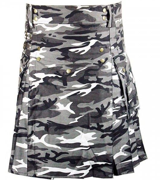 Size 46 Army Gray Camo Utility Cotton Kilt Handmade Unisex Adult Camo kilt with Big Cargo Pocket