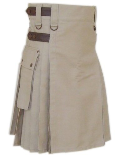 Size 46 Khaki Pure Cotton Utility Kilt with Leather Straps Tactical Kilt with Cargo Pockets