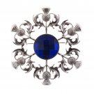 Elegant Scottish Kilt Fly Plaid Brooch Thistle - Blue Stone