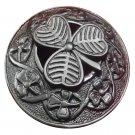"Kilt Fly Plaid Brooch Irish Shamrock Unisex Adult Pin Jewelry Antique 3"""