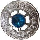 "Highland Kilt Fly Plaid Brooch Sky Stone Chrome 2""/Scottish Emblem Brooches"