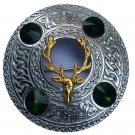 Scottish Kilt Fly Plaid Brooch Stag Head Different Stone Color/Celtic Brooches