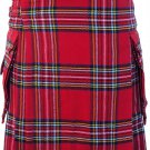 Waist 46 Traditional Highland Scottish Royal Stewart Tartan kilt-Skirt with Cargo Pockets