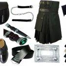 Size 32 Black Cotton Utility Kilt Deal Sporran Kilt Belt Kilt Hose Kilt Pin Kilt Flashes