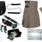 Size 34 Khaki Cotton Utility Kilt Deal Sporran Kilt Belt Kilt Hose Kilt Pin Kilt Flashes