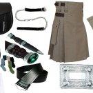 Size 46 Khaki Cotton Utility Kilt Deal Sporran Kilt Belt Kilt Hose Kilt Pin Kilt Flashes