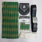 Waist 38 Irish National Tartan Kilt with Sporran Belt Hose and Kilt Pin Flashes