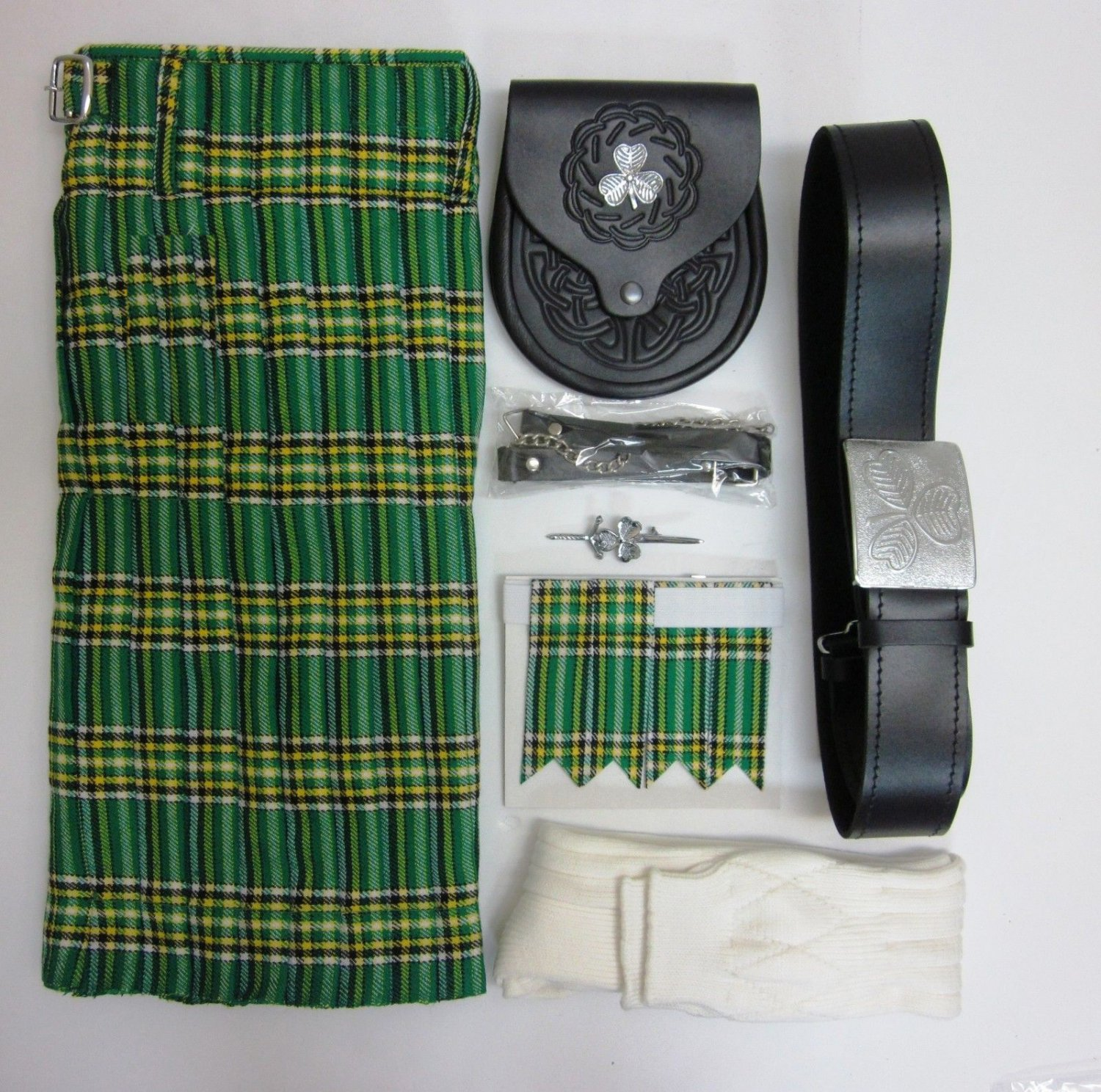 Waist 46 Irish National Tartan Kilt with Sporran Belt Hose and Kilt Pin Flashes