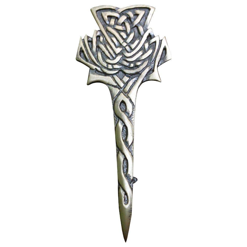 """Brand New Scottish Modern Thistle Kilt Pin Antique 4"""" Highland Celtic Kilt Pin"""