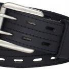 Size 44 Scottish Highland Black Kilt Belt Double Prong Leather Kilt Belt for Tartan & Utility Kilts.