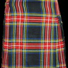 52 Size Highland Utility Tartan Kilt in Black Stewart Scottish Utility Tartan Kilt for Active Men
