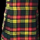 44 Size Highland Utility Kilt in Buchanan Tartan Scottish Cargo Tartan Kilt for Active Men